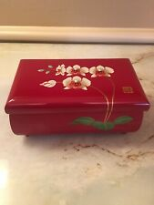 Japanese Music AIZU Lacquerware Jewelry Box NIB with Orchid Flowers