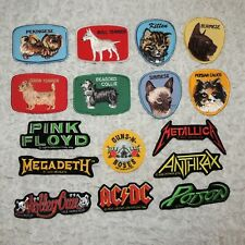 VINTAGE 1980's EMBROIDERED LOT OF 16 IRON ON/SEW ON ANIMAL, BAND PATCHES / NOS