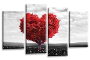 "FLORAL WALL ART LOVE HEART TREE TEAL RED PURPLE GREY FLOWER SPLIT PANEL 44""X27"""