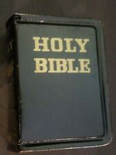 Vintage Small Metal Black And Gold Bank Marked Holy Bible Made In Japan