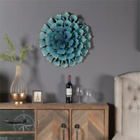 "Luxen Home 23.5"" Diameter Teal Flower Metal Wall Sculpture in Distressed Teal"
