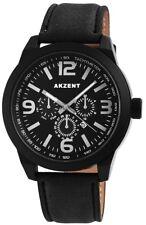 Herrenuhr Akzent Uhr  3 ATM  Schwarz Leder Armbanduhr