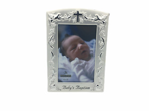 Malden Baby Baptism Two Tone Pewter 4 x 6 Picture Photo Frame