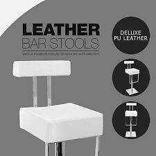 White 1x PU Leather Bar Stool Kitchen Office Chair Stainless Steel 1054