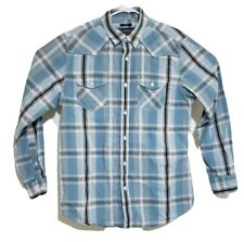 American Rag Cie Button Up Mens Plaid Flannel Shirt Size M Blue Top Long Sleeve