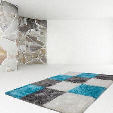 Poils longs haute qualité Tapis UNI SHAGGY Design À Carreaux Turquoise 120x170