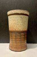 "Gorgeous!!! Bill Stewart Pottery Vase 9.75"" Nuetral Brown Tones Boho Mid Century"