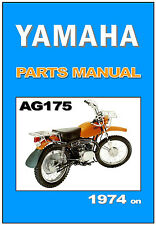 YAMAHA Parts Manual AG175 1974 1975 1976 Replacement Spares Catalog List