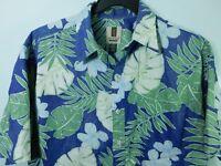 Tori Richard Hawaiian Camp Shirt Men's Size XL Blue Floral Print Aloha USA Made