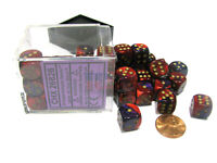 Gemini 12mm D6 Chessex Dice Block (36 Dice) - Purple-Red with Gold Pips