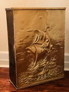 Vintage Umbrella Stand Walking Cane Embossed Brass Over Heavy Metal - Ship Ocean