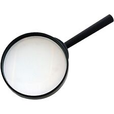 "LARGE MAGNIFYING GLASS GLASSES 4"" 100mm X3 HIGH OPTICAL CLARITY GLASS LENS S2915"