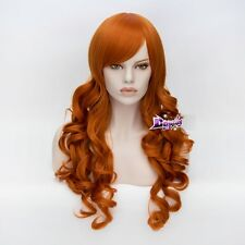 70CM Orange Curly Hair for Scooby Doo Daphne Blake Anime Cosplay Wig + Cap