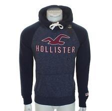 New Men's Hollister Hoodie Sweatshirt Embroidered Fleece Lined L XL Grey Navy