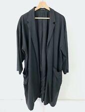 EILEEN FISHER Notch Collar Open Duster Jacket Kimono Sleeve Tencel Silk Gray XL