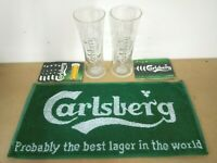new carlsberg lager pub home drip golf bar towel beer mat glass man cave gift *