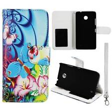 Flip Wallet Blue Pink Flower Butterfly For Nokia Lumia 635 Pu Leather Cover
