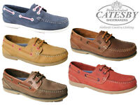 Ladies Catesby Boat Shoes Leather Lace Up Loafers Deck Yachting Casual Mocassins