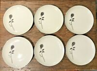 BRISTOL FINE CHINA JAPAN RENDEZVOUS LOT OF 6 BREAD PLATES CHARCOAL ROSE  EUC
