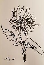 "JOSE TRUJILLO - ART OIL PASTELS Painting ABSTRACT Minimalism 13X19"" SUNFLOWER"