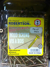"Aster-Lo-Root ROBERTSON YELLOW WOOD SCREWS #8 X 2"" 500 PCS VIS A BOIS JAUNE"