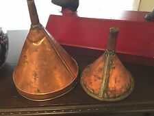 2 ANTIQUE  PROHIBITION COPPER STRAINER STILL FUNNELS FOLK ART PRIMITIVES ART