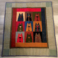 Country Quilt Wall Hanging, Kitty Cats, Printed Design, Checks, Plaids, Stars
