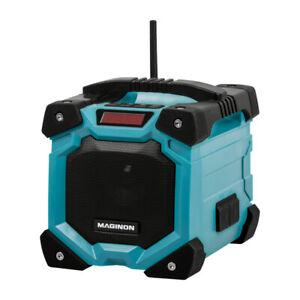 Akku Baustellenradio Radio AUX IN + Bluetooth   Wasserdicht IP44 Li-Ionen blau