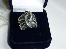 Diamond Treasures Sterling Sliver 1.01 ctw Blue & White Diamond Wide Band Ring