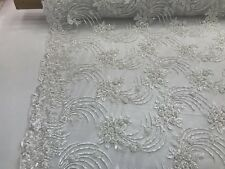 White Design Embroider Mesh Whit Beaded And Squins Lace Fabric - By The Yard