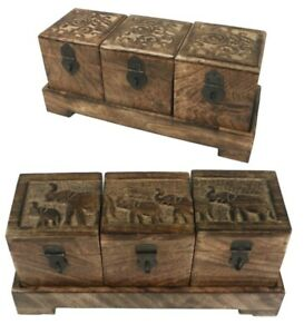 SET/3 WOODEN DECORATIVE BOXES & TRAY ELEPHANT TREE OF LIFE DESIGN MANGO WOOD