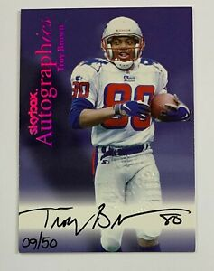 1999 Skybox Troy Brown Autographics Auto 9/50 FRA31