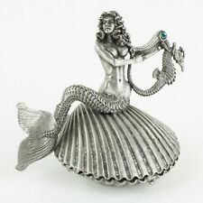 Mermaid on Clam with Pearl   Vintage 1990s Fantasy Figure by Rawcliffe Pewter