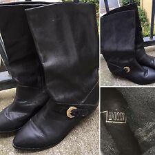 Vintage axiom Black Leather Boots W/ Buckle 5 1/2 B 80s