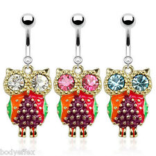 SEXY 3 PACK SURGICAL STEEL COLORFUL EPOXY OWL W/CZ EYES DANGLE NAVEL BELLY RINGS