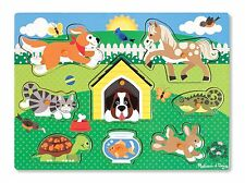 BRAND NEW & SHRINKWRAPPED - MELISSA AND DOUG PETS WOODEN PEG PUZZLE