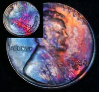 UNCIRCULATED 1948 D BU (44e) VIBRANT Rainbow MONSTER Toned Penny Wheat Cent