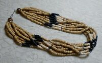 VINTAGE NEUTRAL COLOR WOOD BEADED MULTI STRAND BOHO NECKLACE 20 INCH