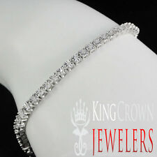 1 ROW DIAMOND WHITE GOLD FINISH OVER STERLING SILVER  TENNIS BRACELET 8 INCH NEW