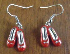 Boucles d'oreilles argentées ballerines rouges 19x14 mm