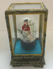 Vintage People's Republic of China Hand Painted Egg in Glass Case Geisha Girl