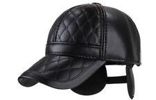 Bonnet avec protection pour oreilles hiver chaud pliant cuir artificiel noir