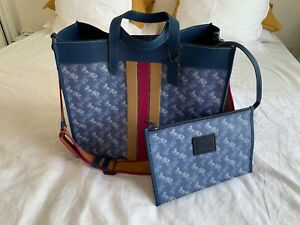 COACH NEW YORK LARGE BLUE COATED CANVAS LEATHER FIELD TOTE 20 BAG CARRIAGE PRINT