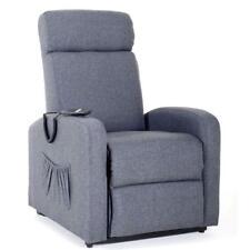Poltrona marta relax recliner in tessuto blu jean con sistema elettrico a motore