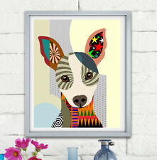 Art Rat Terrier Dog Pop Pet Poster Animal Lover Print Puppy Portrait Painting