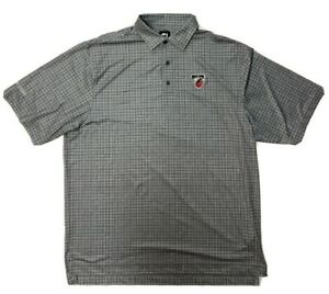 FootJoy FJ Polo Shirt Men's XL Gray Plaid SS Golf Logo GUC