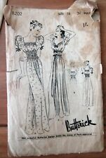 """Vintage 1930s (1939) WW2 Butterick 8202 Sewing Pattern Nightgown 34"""" Chest"""