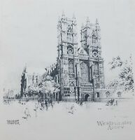 Ernest Coffin Etching Art Print Westminster Abbey Unframed on Paper Circa 1930