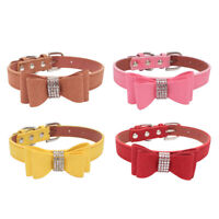 Rhinestone Dog Collar and Leash.Soft Suede.Bow For.Doggie Puppy Cat Small Pet.