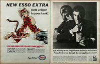 Esso Extra Puts A Tiger In Your Tank / Crawford's Scotch Whiskey Vintage Ad 1965